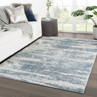 """Montclair Abstract Silver/ Blue Area Rug - 8'10"""" x 12'"""
