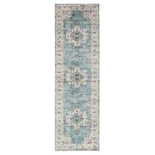 Porch & Den Holyoke Turquoise/ Grey Medallion Runner Rug - 2'6 x 8'
