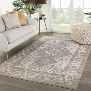 Shreve Medallion Gray/ Tan Area Rug - 5' x 7'6""