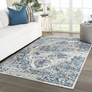 Vernado Medallion Blue/ Gray Area Rug - 5' x 7'6""