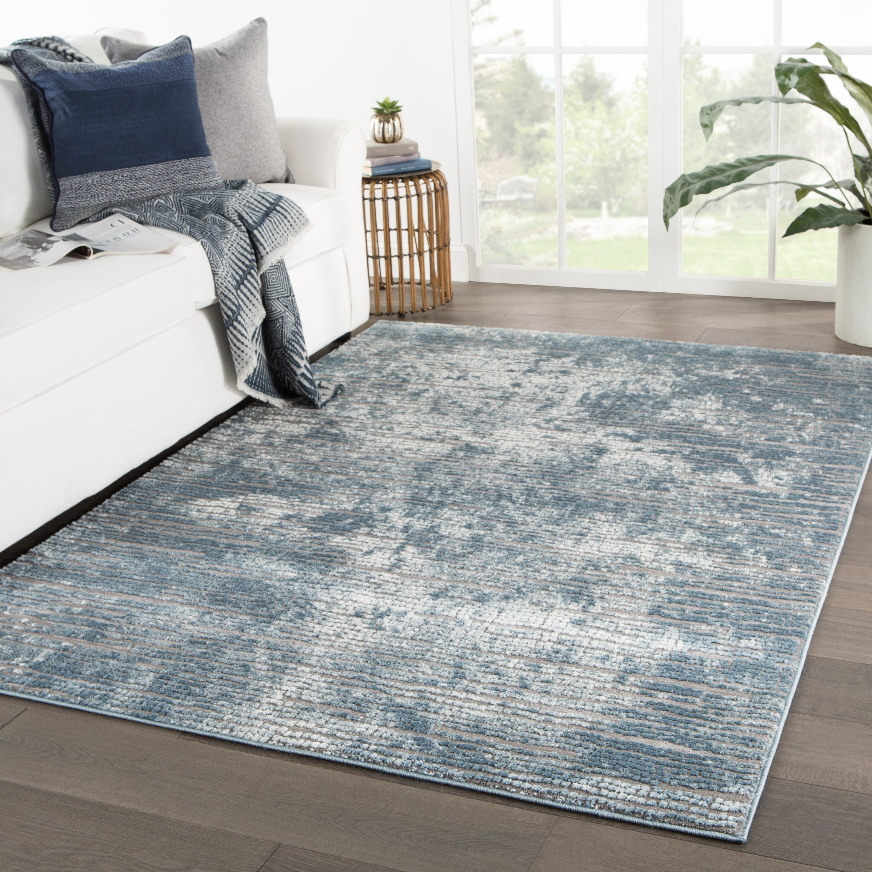 Picture of: Galaway Abstract Area Rug Overstock 23554283 Blue Grey 4 3 X 6 1