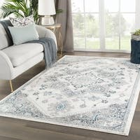 "Wayra Medallion White/ Light Gray Area Rug - 7'10""x10'2"""