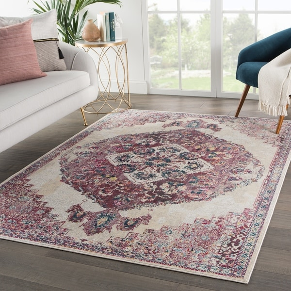 The Curated Nomad Rocky Medallion Purple/ Cream Area Rug - 4' x 5'8 - 4' x 5'8""