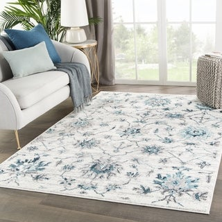 "Alizeh Medallion White/ Teal Area Rug - 4'3"" x 6'1"""