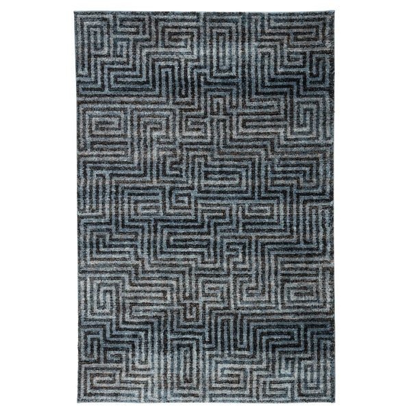 Roan Geometric Blue/ Gray Area Rug - 2' x 3'