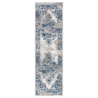 "Vernado Medallion Blue/ Gray Runner Rug - 2'6"" x 8' Runner"