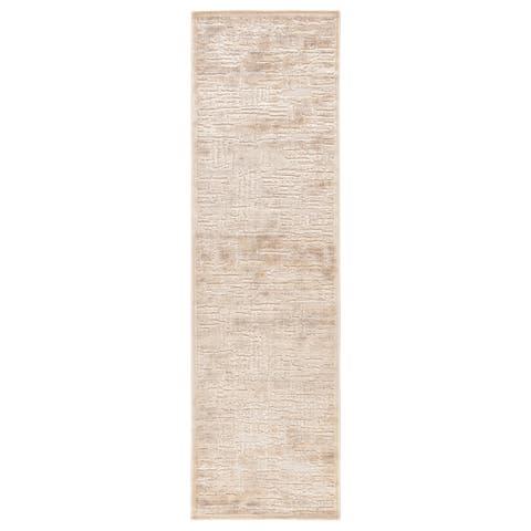 "Bertoia Abstract Beige/ Gray Runner Rug - 2'6"" x 8' Runner"