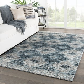 Souk Geometric Gray/ Blue Area Rug - 2' x 3'