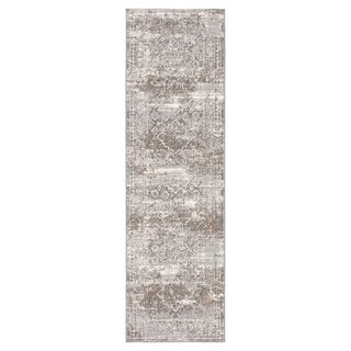 "Deville Medallion Light Gray/ Tan Runner Rug - 2'6"" x 8' Runner"