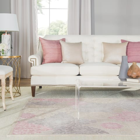 "Florence Damask Ivory/ Pink Area Rug - 5' x 7'6"""