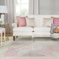 "Florence Damask Ivory/ Pink Area Rug - 5'x7'6"""