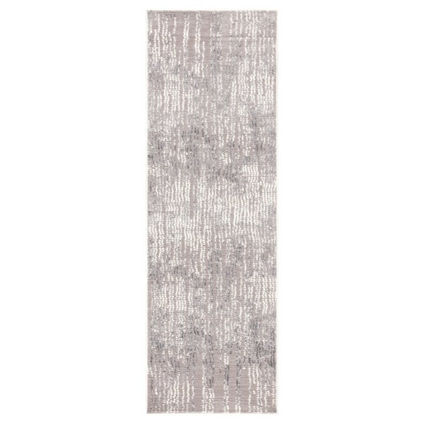 Shop Elmira Abstract Light Gray White Runner Rug 2 7 Quot X