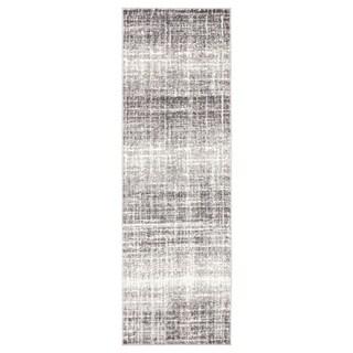 """Paylor Abstract Gray/ White Runner Rug - 2'7"""" x 8'2"""" Runner"""