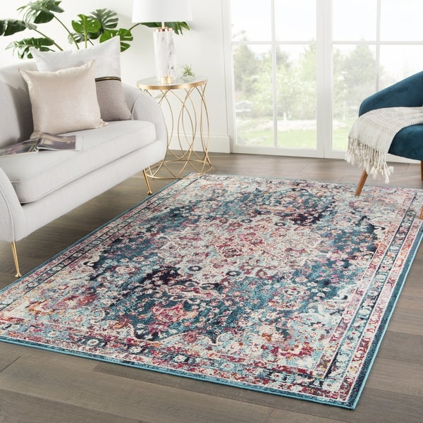 Shop The Curated Nomad Willard Medallion Teal Area Rug