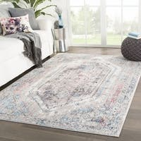 "Navi Medallion Gray/ Pink Area Rug - 7'10"" x 10'"