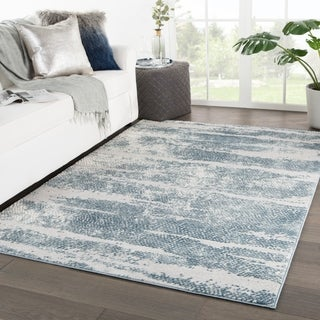 """Montclair Abstract Silver/ Blue Area Rug - 4'3"""" x 6'1"""""""