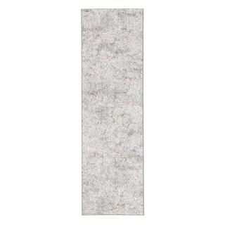"""Monroy Damask White/ Light Gray Runner Rug - 2'6"""" x 8' Runner"""