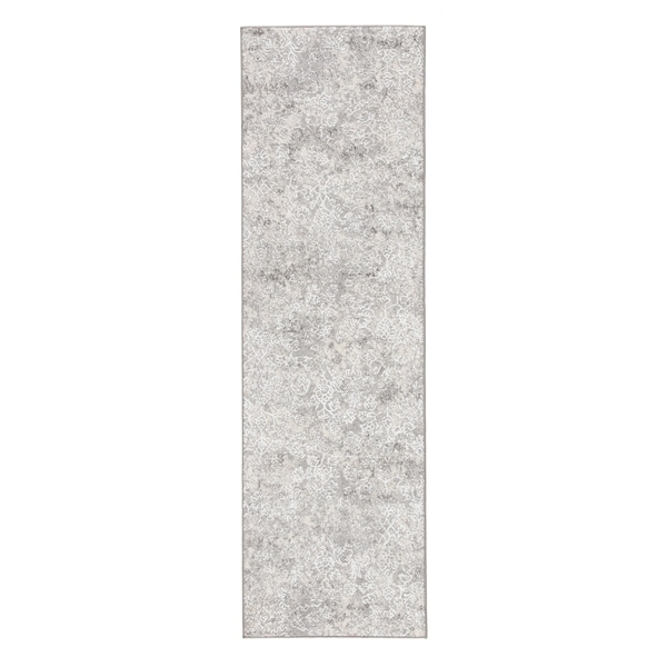 "Monroy Damask White/ Light Gray Runner Rug - 2'6"" x 8' Runner"