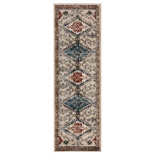 "Dreya Medallion Gray/ Blue Runner Rug - 2'6"" x 8' Runner"
