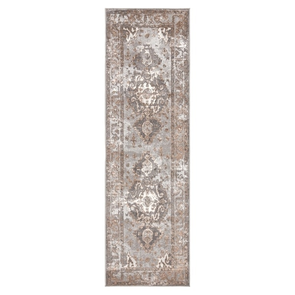 "Shreve Medallion Gray/ Tan Runner Rug - 2'6"" x 8' Runner"