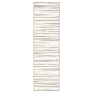 "Raya Stripe Cream/ Silver Runner Rug - 2'6"" x 8'"