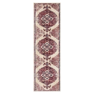 "The Curated Nomad Rocky Medallion Purple/Cream Runner Rug - 2'6"" x 8' Runner"
