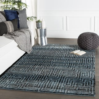 Roan Geometric Blue/ Gray Area Rug - 5' x 7'6""