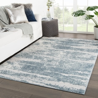 """Montclair Abstract Silver/ Blue Area Rug - 5'3"""" x 7'6"""""""