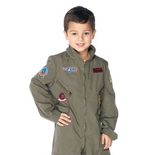 Leg Avenue Children's Top Gun boys flight suit LARGE KHAKI