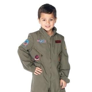 Leg Avenue Children's Top Gun boys flight suit LARGE KHAKI