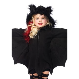 Leg Avenue Children's Cozy Bat,zipper front fleece dresswith furry ear hood MEDIUM BLACK