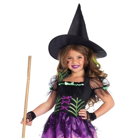 Leg Avenue Children's 2PC.Spiderweb Witch,high/low dress w lace up web waist,witch hat LARGE MULTICOLOR
