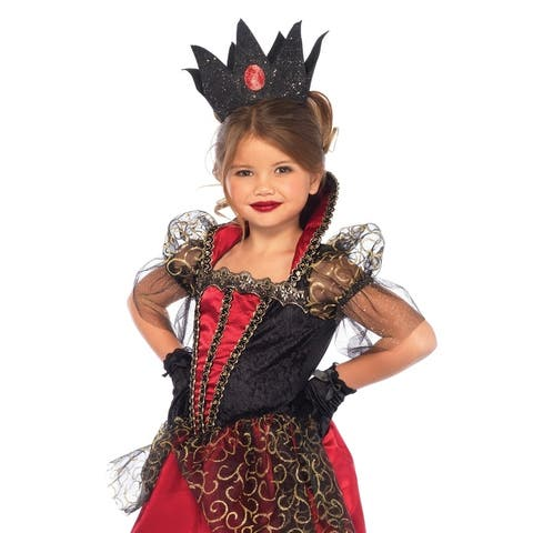 Leg Avenue Children's 2PC.Deluxe Red Queen, long satin gown w stay up collar,jewel crown MEDIUM RED/BLACK