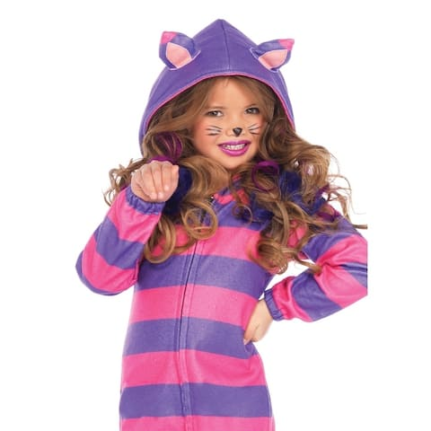 Leg Avenue Children's Cheshire Cat Cozy, zipper front fleece dress w ear hood and tail LARGE PINK/PURPLE