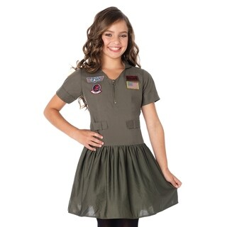 Leg Avenue Children's Top Gun Girls Flight Dress w/patches,interchangable name badges LARGE KHAKI