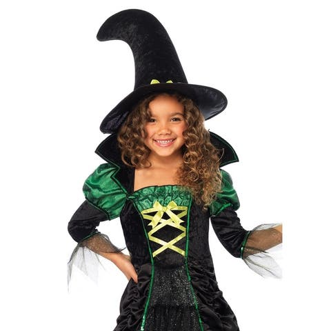 Leg Avenue Children's 2PC.Storybook Witch,long ruched dress and matching hat MEDIUM BLACK/N.GREEN