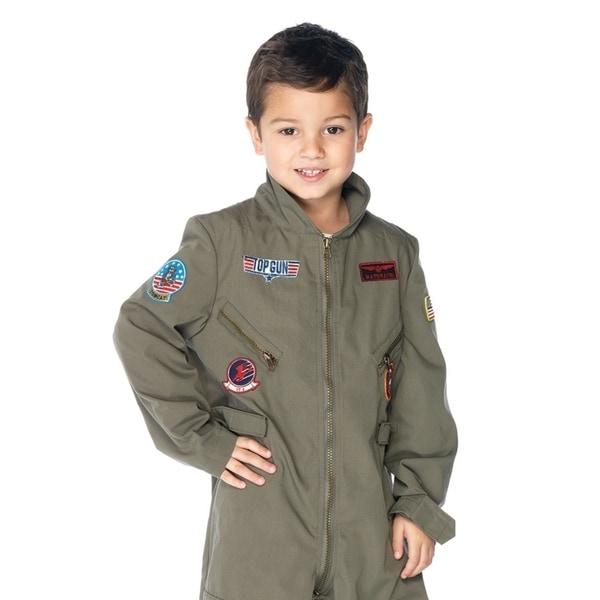 Leg Avenue Children's Top Gun boys flight suit SMALL KHAKI