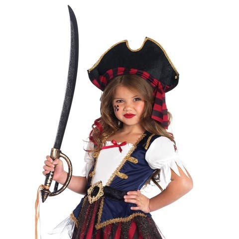 Leg Avenue Children's 2 PC.Caribbean Pirate, gold trimmed dress with belt and pirate hat MEDIUM MULTICOLOR