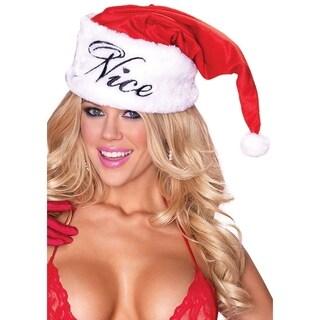 Leg Avenue Women Costume's Naughty Or Nice Reversible Plush Santa Hat O/S Red/White
