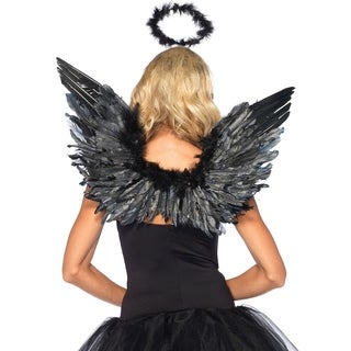Leg Avenue Women Costume's 2Pc. Angel Accessory Kit, Includes Wings And Halo O/S Black