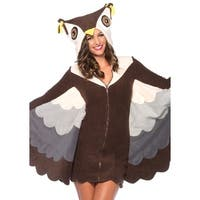 Leg Avenue Women Costume's Cozy Owl Fleece Dress W/Extendable Wings And Hood Medium Brown