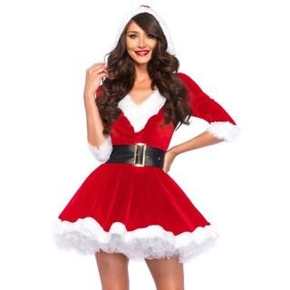 Leg Avenue Women Costume's 2Pc.Mrs. Claus,Velvet Hooded Dress And Belt X-Large Red/White