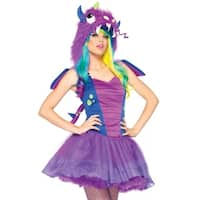Leg Avenue Women Costume's 3Pc.Darling Dragon Petticoat Dress W/Spiked Tail Velcro Wings Hood Xs Purple/Blue