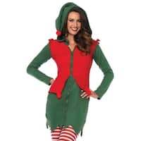 Leg Avenue Women Costume's Cozy Elf,Fleece Dress With Cute Elf Hood And Pom Pom Accents