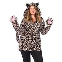 Leg Avenue Women Costume's Cozy Leopard,Dress W/Paw Gloves,Tail,Ear Hood 1X-2X Leopard