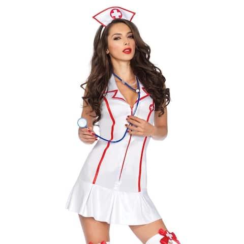 Leg Avenue Women Costume's 3Pc. Halter Nurse Zipper Front Dress W/ Head Peice And Medium/Large