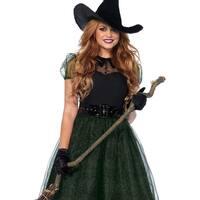Leg Avenue's 3Pc.Darling Spellcaster,Tea Length Glitter Dress,Belt,Hat Small Black