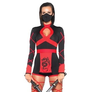 Leg Avenue's 3Pc.Dragon Ninja,Hooded Romper,Waist Sash,And Face Mask Small Black/Red