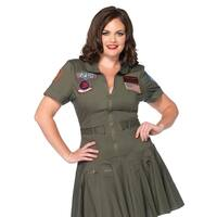 Leg Avenue Women's  Plus-Size Licensed Top Gun Flight Dress  , 1X-2X, Khaki