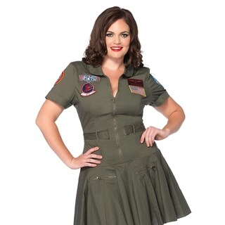 Leg Avenue Women's Plus-Size Licensed Top Gun Flight Dress , 1X-2X, Khaki